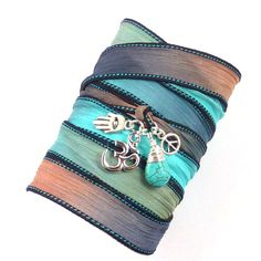 Om Silk Wrap Bracelet with Turquoise Peace by charmeddesign1012, $36.00
