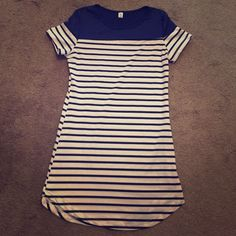 Blue striped stress Blue and white striped dress.  Perfect condition. Polyester material. Size small but is very short so I would say closer to xsmall (when I wore this I wore it leggings) Dresses Mini