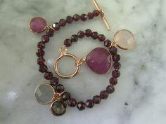 Bettelarmbänder - Armband Gliederkette Granat Rubin Mondstein Bead - ein Designerstück von TOMKJustbe bei DaWanda