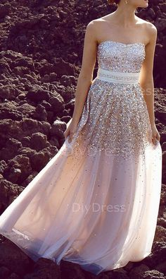 A-line Strapless Gold Sequins Lace Champagne Tulle Floor-lenth Prom Dresses,Beaded Evening Dresses
