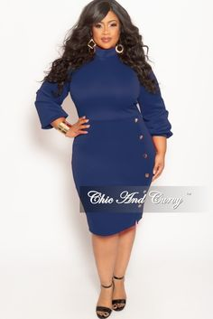 39fb9c69149bc Plus Size Long Sleeve BodyCon Dress with Front Gold Button – Chic And Curvy