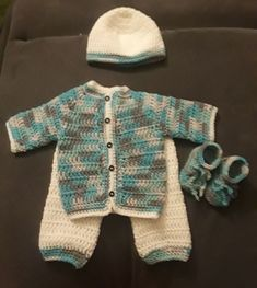 b4916ae92ea Crochet Newborn boy home coming outfit set of Sweater pants hat and Shoes   fashion