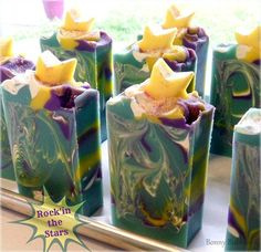 Rockin the Stars Soap - vanilla, ripe strawberries, violets and jasmine - Enriched with milks, aloe vera and butters