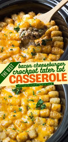 Busy night? Try this crockpot recipe for an easy dinner idea! This tater tot casserole recipe is very easy to make using your slow cooker. It's so comforting and filling, perfect for busy nights! Save this Bacon Cheeseburger Crock Pot Tater Tot Casserole for later!
