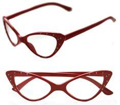 Small Women/'s Cat Eye 50/'s Vintage Retro Half Shell Soho Clear Lens Eye Glasses