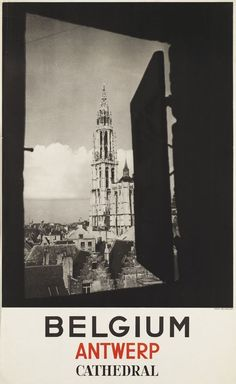 #vintage illustrated #travel poster canvas print belgium antwerp cathedral a3 from $16.61
