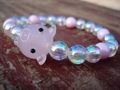 Piggy BraceletGlass Pig Bead BraceletPig by MakeMeSmileJewelry