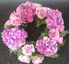 Purple flower wreath for a centerpiece