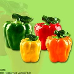 4pc canister set bell pepper color fiesta by Marcel Imports. $64.99. There are four different sized canisters in all.. amazing finish gloss. bright colors. unique style. fine ceramic. Fiesta colors for your kitchen.Bring the bright colors of bell pepper and light up your kitchen with this unique items.You will love every piece of this collection bell Pepper desing  * LID sits on the top of the canister (no airtigh seal or rubber around the *lid) * amazing ceramic finish ...