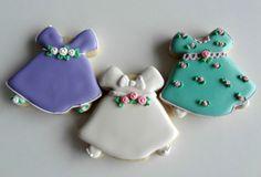 Easter Dress Cookies with Flour De Lis {Guest Post} Galletas Cookies, Baby Cookies, Flower Cookies, Iced Cookies, Cute Cookies, Easter Cookies, Cupcake Cookies, Sugar Cookies, Christening Cookies