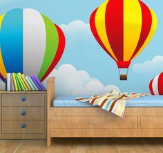 Beautiful hot air balloon wall mural for children