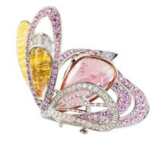 Boucheron Bouquet d'Ailes butterfly brooch set with colored sapphires, fine stones and diamonds