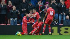 Adam #Lallana (Southampton FC)  Adam Lallana (C, standing) of Southampton FC is congratulated by team-mates after scoring the opening goal during the English Premier League match against Newcastle United FC
