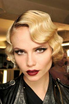 40's retro blonde hair + mulberry lip