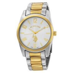 U.S. Polo Assn. Men's USC80044 Two-Tone Silver Dial Metal Link Watch U.S. Polo Assn.. $21.99. Luminous hour and minute hands. Mineral crystal. Gold arabic numerals and sticks on silver dial. Gold logo. 3-Hand Analog-Quartz movement. Round silver-tone case with gold bezel