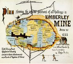 An old plan showing the relative positions of all holdings in Kimberley Mine in 1883 Positivity, How To Plan, History, Infographics, Diamonds, Art, Art Background, Historia, Info Graphics