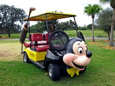 Mickey Mouse themed golf cart at the Walt Disney World resort Magnolia Golf Course in Central Florida.