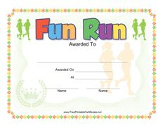 A certificate of participation for participating in a race or fun run certificate printable certificate yelopaper Image collections