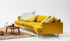 """White and grey are still ok, but a colourful sofa is a game-changer! Get inspired to take the colour plunge with these incredibly chic living rooms. See""""Choosing a Sofa Beyond White and Grey"""" in our Colour Guide. Mcm Furniture, Modular Furniture, Furniture Design, Living Room Storage, Chic Living Room, Living Rooms, Family Rooms, Living Area, Living Spaces"""