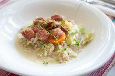 Hämmentäjä: Varhaiskaalipata chorizolla tai ilman. Cabbage stew with chorizo.