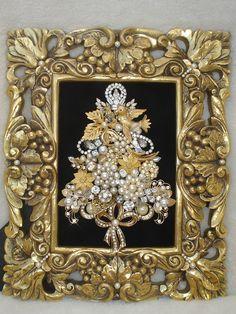 Vintage Jewelry Framed Christmas Tree Elegant Rhinestones Pearls | eBay