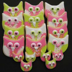 Owl cookies - Lime, Pink & White