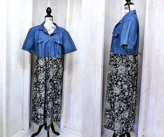 c9e8a3cbd8 Denim floral dress plus size 1X   2X   18   20   vintage 80s 90s
