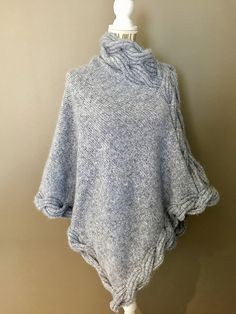 Ravelry: Frosty Waves Poncho pattern by Hilde Sørum Poncho Knitting Patterns, Knitted Poncho, Cable Sweater, Cable Knit, Cape Pattern, Wave Design, Knit Wrap, Alpacas, Mantel