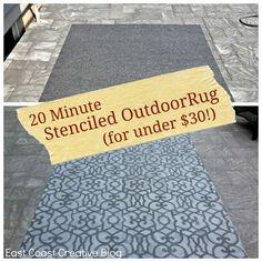 Use spray paint and stencils to transform a plain outdoor rug.via Infarrantly Creative