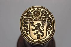 Impressive well engraved 18thc brass wood armorial shield/helm desk wax seal