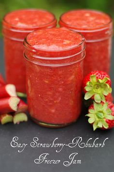 Strawberry Rhubarb Freezer Jam Recipe » The Homestead Survival