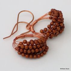 Beaded Hoop Earrings Brown Bamboo Coral and by WillOaksStudio