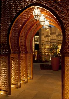 I need this breathtaking hallway in my dream home. I adore Arabesque architecture and this hallway reminds me of Aladdin