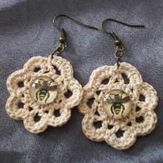 Crocheted Lace Vintage Bee Flower Earrings I made. Vintage bronze french hooks. 12mm glass.