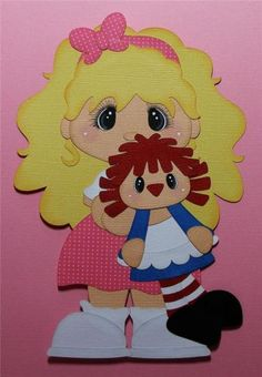 """MOMZ """"Little Girl & Raggedy Ann"""" Premade Scrapbook Pages Paper Piecing by Shelly"""