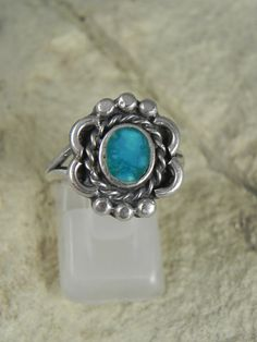 Native American Sterling Turquoise Flower by HonestJohnMercantile, $30.00