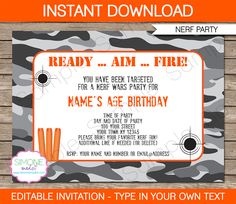 Nerf Party Invitations | Birthday Party | Editable DIY Theme Template | INSTANT DOWNLOAD $7.50 via SIMONEmadeit.com