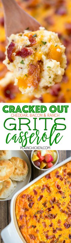 Cracked Out Grits Casserole - cheddar bacon and ranch - SO addictive! We love this casserole for breakfast lunch and dinner. Can make ahead and refrigerate or freeze for later. What's For Breakfast, Breakfast Dishes, Grits Breakfast, Chicken For Breakfast, Bacon Breakfast Casserole, Office Breakfast Ideas, Bacon Egg And Cheese Casserole, Atkins Breakfast, Brunch Dishes