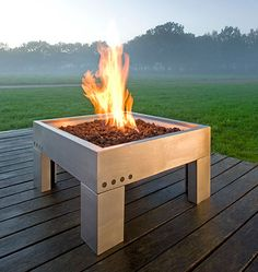 The stainless steel Architect Gas powered firepit has a 30,000 BTU burner and comes with larva rock for a very stylish appearance. Bamboo lid instantly converts the firepit to a garden side table when not in use. The flame is also adjustable to suit the weather, making this sleek, contemporary gas burning firepit another excellent choice for a modern home. Overall dimensions are L70 x W70 x H37 cm and price is £315. Previously, Dimplex outdoor fireplaces.