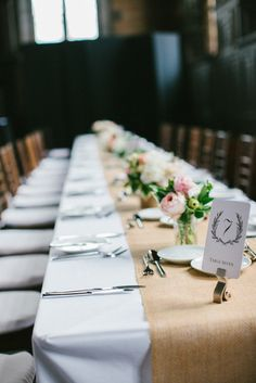 long tables and simple flowers