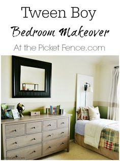 Interesting use of paint! . . . Stripe on wall continues into stripe in Draperies - Tween-Boy-Bedroom-Makeover atthepicketfence.com