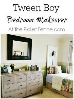 Tween Boy Bedroom Makeover atthepicketfence.com