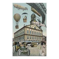 Vintage Science Fiction, Steam Punk Victorian City Poster