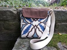 Crossbody bag Hip Bag brown and blue fabric by BirdOnAWireBags, $38.00