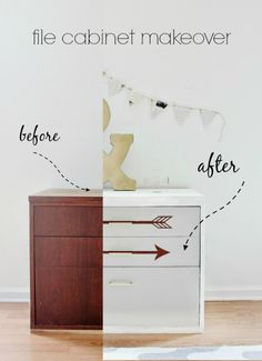 Before and After File Cabinet Makeover from @decoart