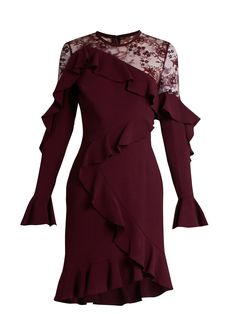 Lace-insert ruffle-trimmed dress | Elie Saab | MATCHESFASHION.COM