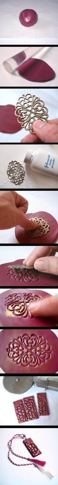 DIY polymer clay pendant: Tutorial from Baghy.