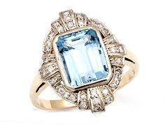 RING 750 AQUAMARIN - #Antikstyle #Aquamarin #Diamonds