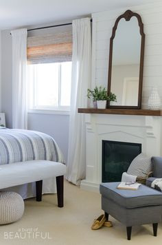 Blogger, A Burst of Beautiful, uses our woven wood shade to add texture, color and warmth to her modern farmhouse.