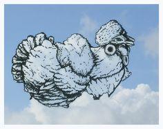 Quand on observe le ciel et ses nuages, des formes familières peuvent apparaître. Le créatif Martín Feijoó basé à Madrid, photographie certains nuages formant un visage ou un animal. Une fois capturé, le nuage lui sert de base de travail pour réaliser une illustration au Rotring assez détaillée. L'inspiration vient du ciel.